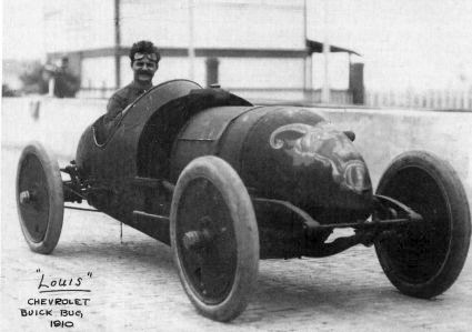 Louis Chevrolet driving a Buick Bug in the 1910 Vanderbilt Cup