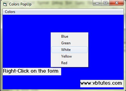 Screenshot of the program, Colors popup