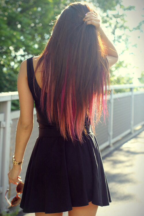 Pretty Pink Highlights! - The HairCut Web Brown Hair With Red Tips Tumblr