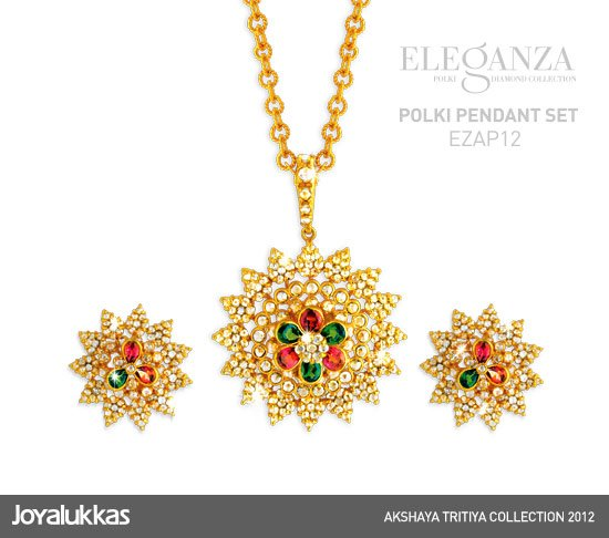 Gold and diamond jewellery designs joy alukkas polki pendant set joy alukkas polki pendant set aloadofball Image collections