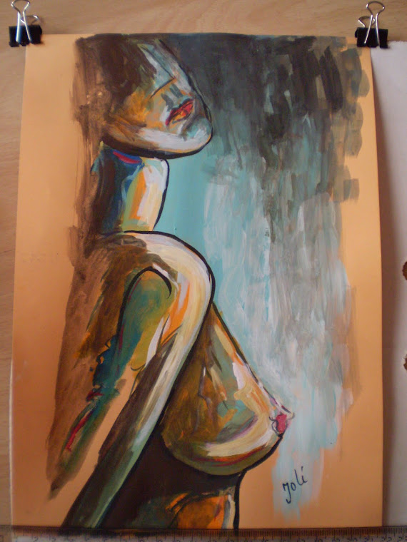 nude nd1, abstract, watercolor painting, signed Joli