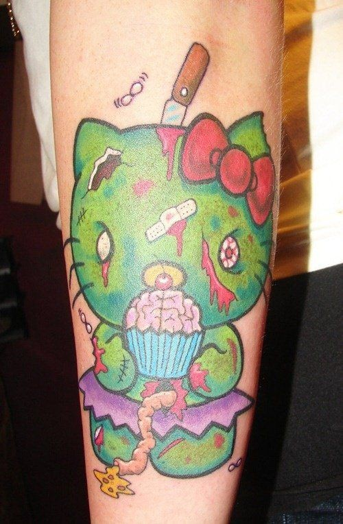 Zombi hello kitty forearm tattoo