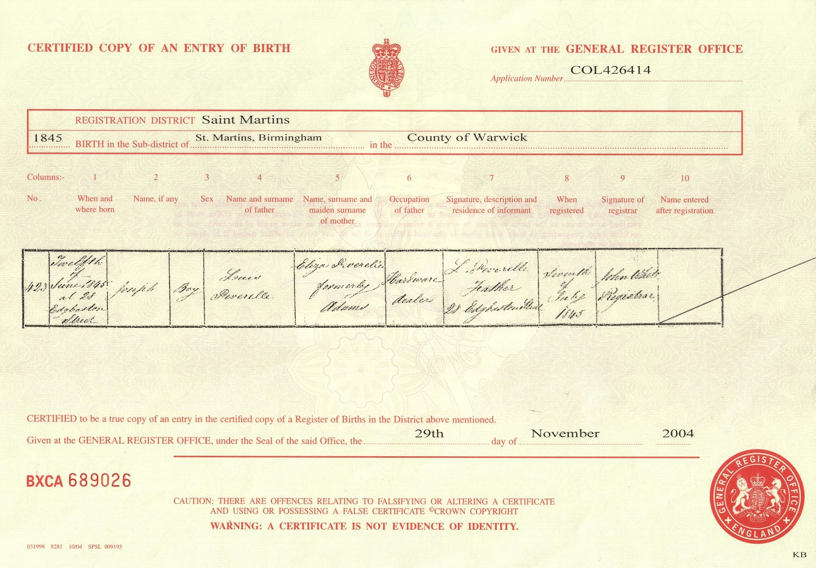 My link to the past 2012 03 11 birth registration of joseph peverelle st martins birmingham england aiddatafo Image collections