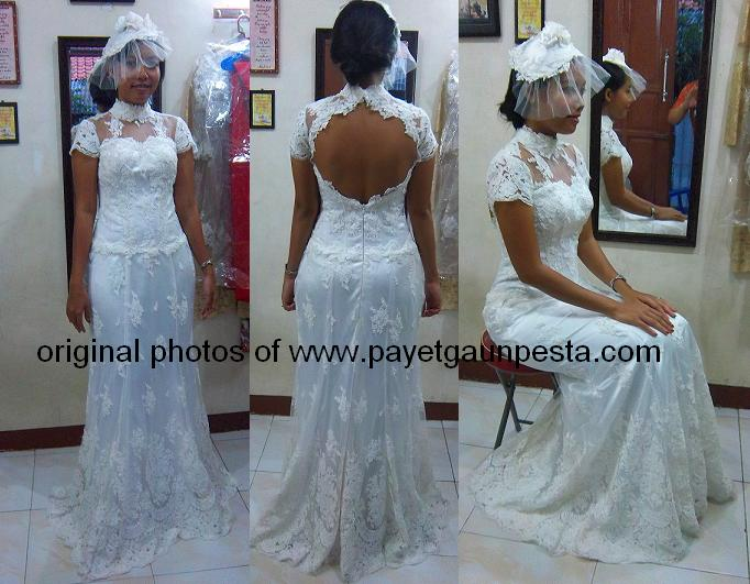 Gaun Pengantin European Full Brokat, Backless dan Veil Vintage