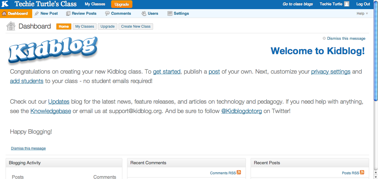 http://support.kidblog.org/entries/27214870-Getting-Started-Setting-up-Your-Class-Blogs