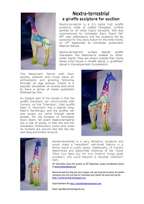 Information about Nextra-terrestrial giraffe sculpture - Stand Tall - Colchester Zoo - Auction