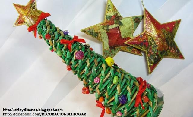Diy rbol de navidad con papeles para decorar el hogar - Papeles para decorar ...