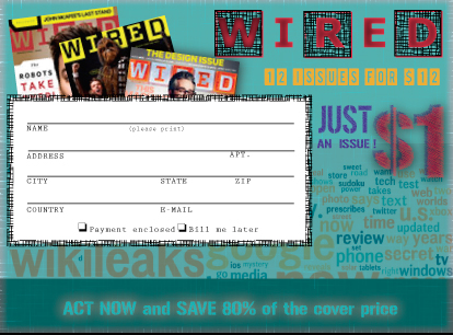 WIRED magazine subscription cards | cre8ART