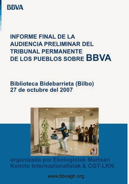 INFORME FINAL de la AUDIENCIA PRELIMINAR DEL TRIBUNAL PERMANENTE de los PUEBLOS sobre BBVA