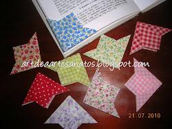 Marcadores de página de origami de tecido
