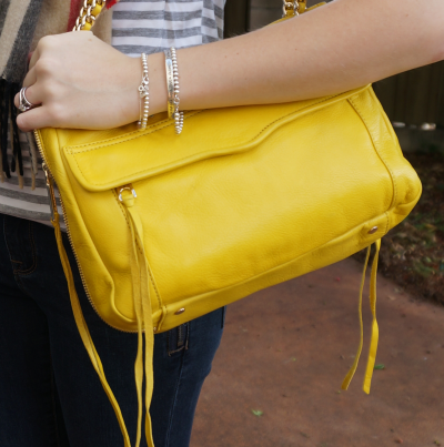 Away from Blue Rebecca Minkoff swing bag yellow in autumn skinny jeans outfit