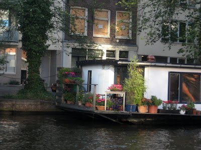 Garden on a boat house in Amsterdam