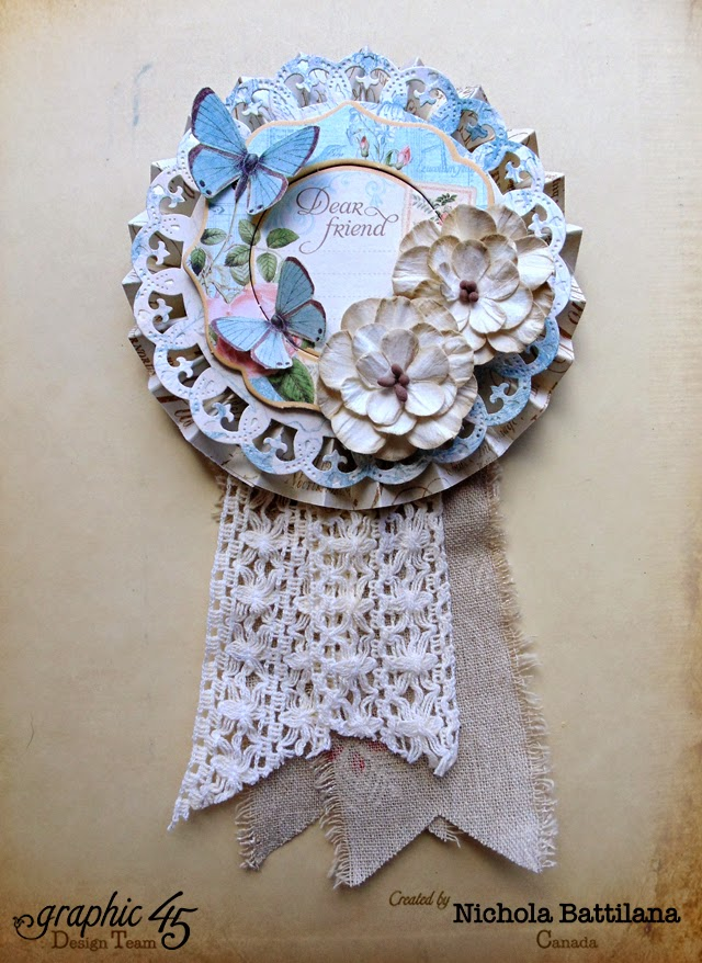 Paper rosette with G45 papers & Petaloo flowers - Nichola Battilana