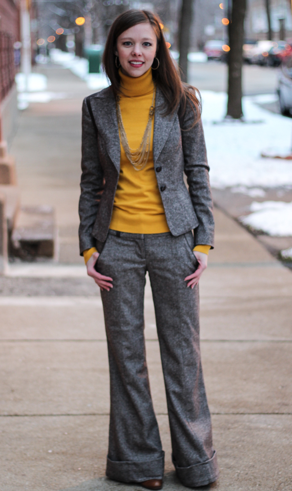 StyleSidebar - Brown Tweed Suit &amp; Mustard