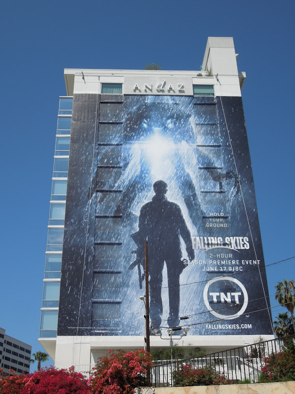 Giant Falling Skies season 2 billboard Sunset Strip