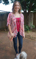 Choies red vintage pattern kimono Jeanswest prima denim skinny jeans