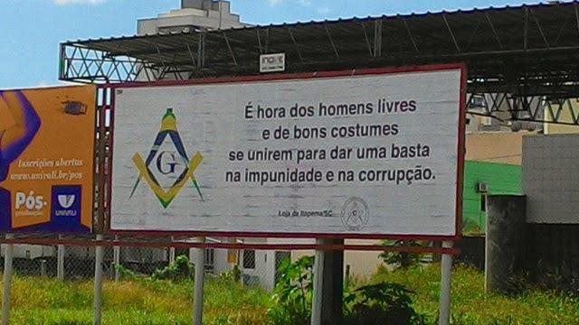 Maçonaria faz Outdoor contra a corrupção em Itapema