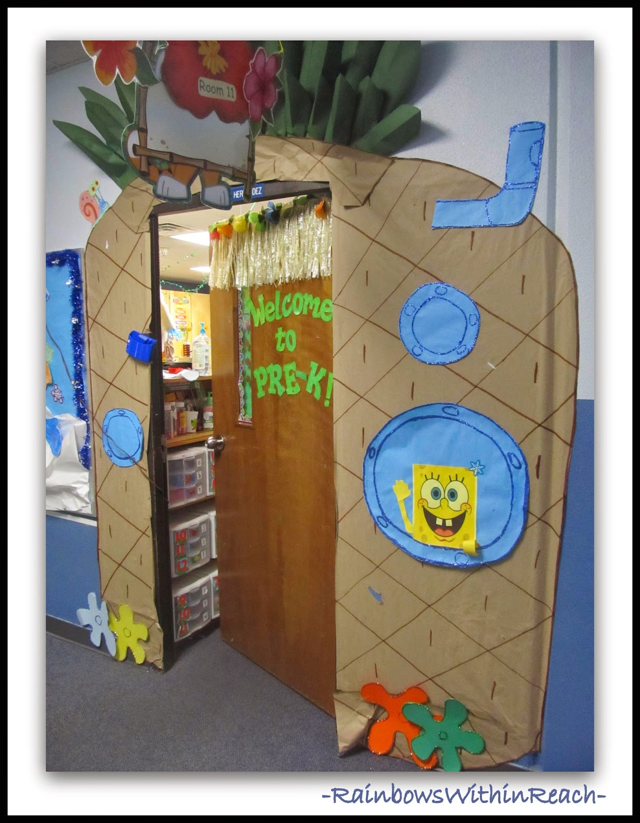 Decorated Classroom Door with Sponge Bob Theme at RainbowsWithinReach