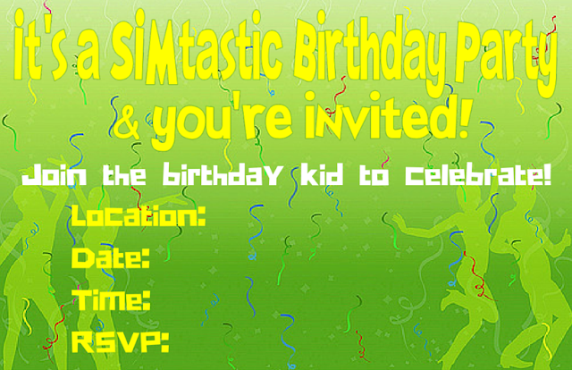 The Sims birthday invite editable in canva