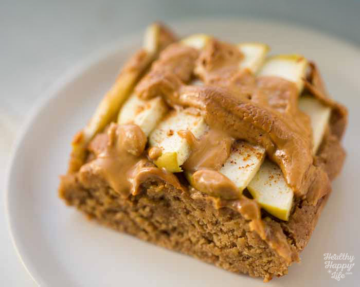 Green Apple Spice Peanut Butter Oatmeal Bars Date Sweetened