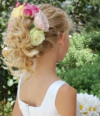Flower girl updo hairstyles with rose Popular teen girls hairstyles