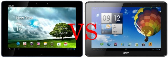 Asus Transformer Pad TF300 vs Acer Iconia Tab A510