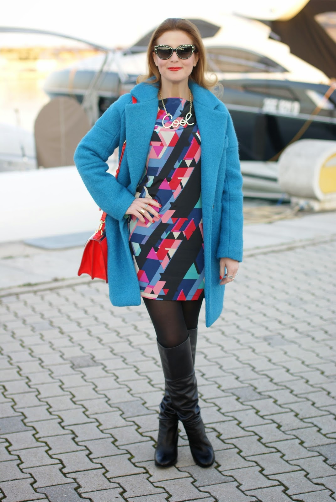 Paramita geometric print dress with over the knee boots, Marc by Marc Jacobs bag on Fashion and Cookies fashion blog