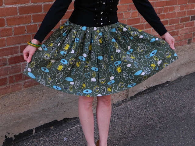 1950s novelty print chicken circle skirt Just Peachy, Darling