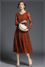2018 Long Sleeve Earth Red Flare Lace Dress