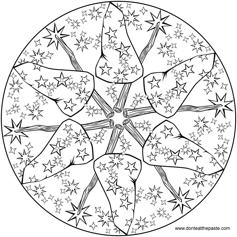 Wizard-y mandala to color- also available as transparent PNG