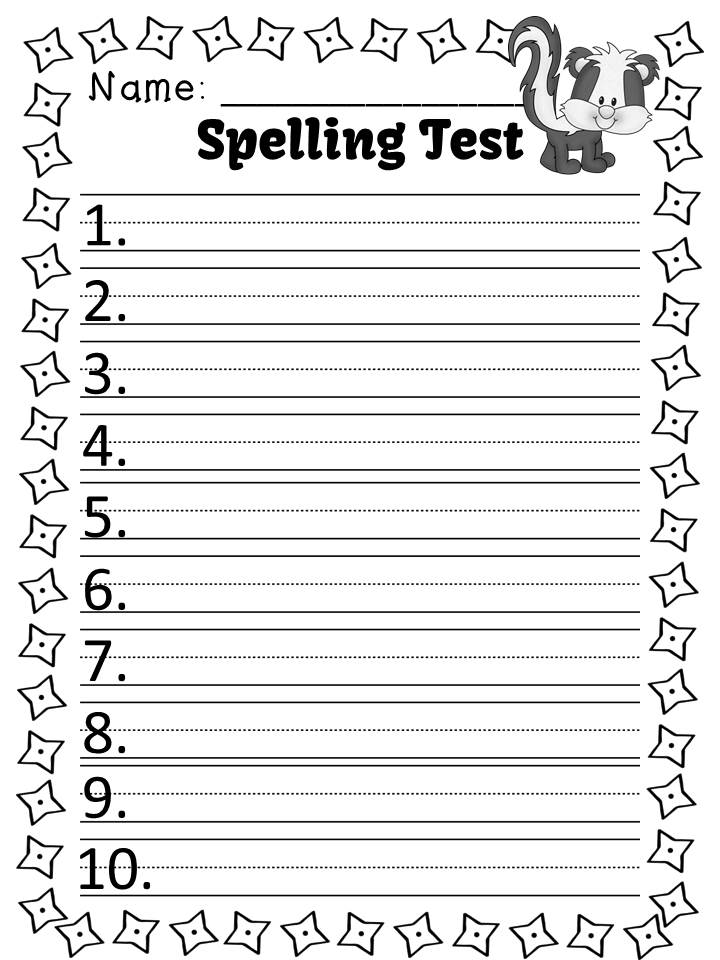 Fern Smith's FREE Spelling Lists and Tests for the -unk Family