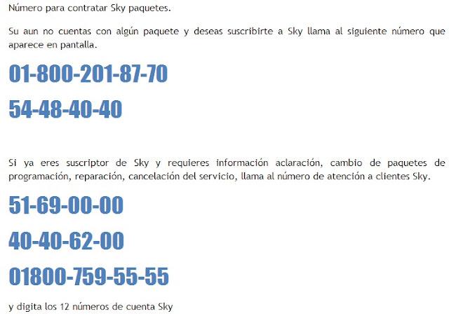 números telefónicos para contrataciones nuevas de sky