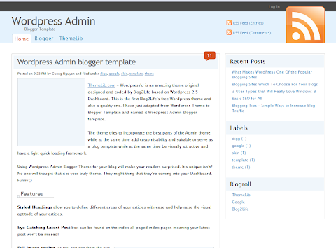 WordPress Admin Blogger Theme