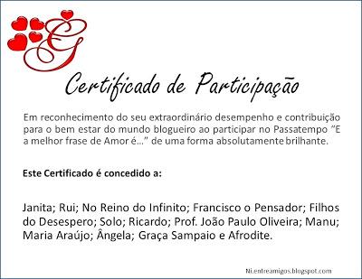 """Certificado de Participação Colectivo do Passatempo """"A Melhor Frase de Amor É..."""""""