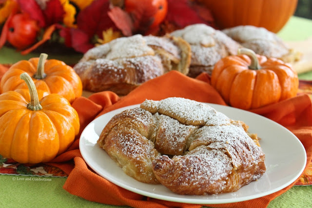 Pumpkin Almond Croissants from LoveandConfections.com #PumpkinWeek