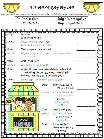 ... Connections: Worksheet Wednesday... Types of Sentences [6.25.14