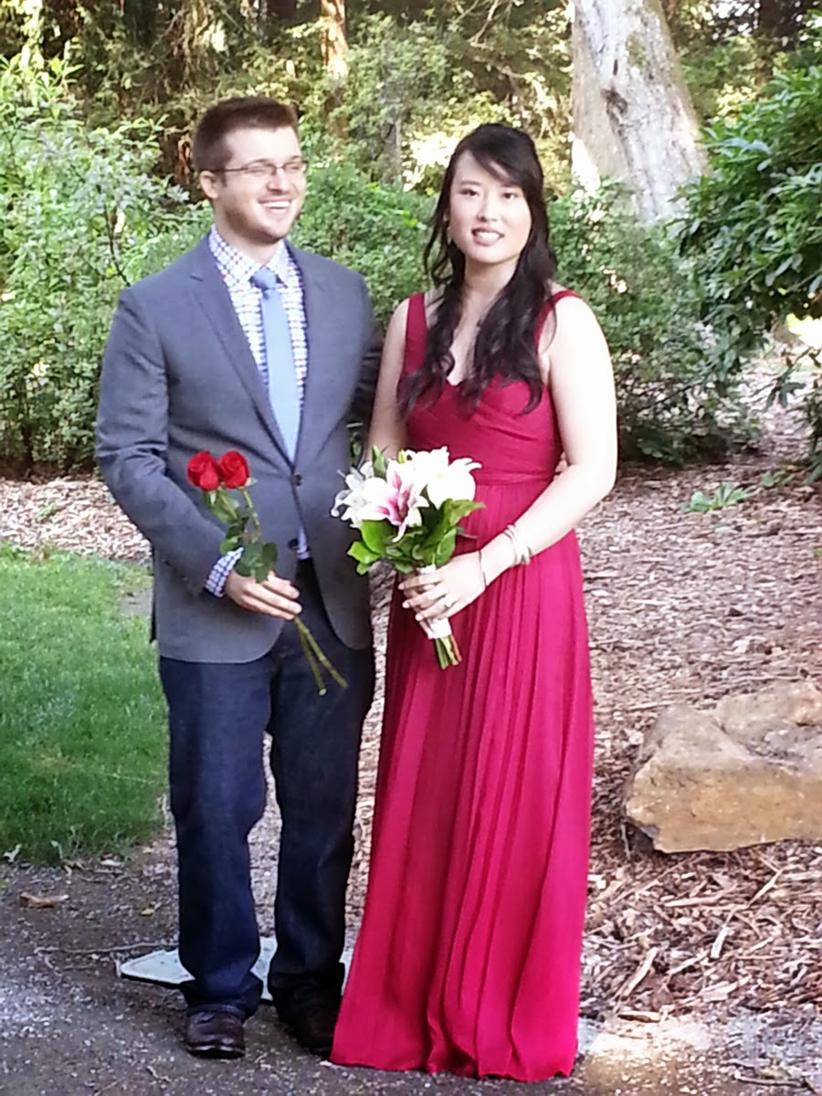The bride and groom just before their ceremony - Patricia Stimac, Seattle Wedding Officiant
