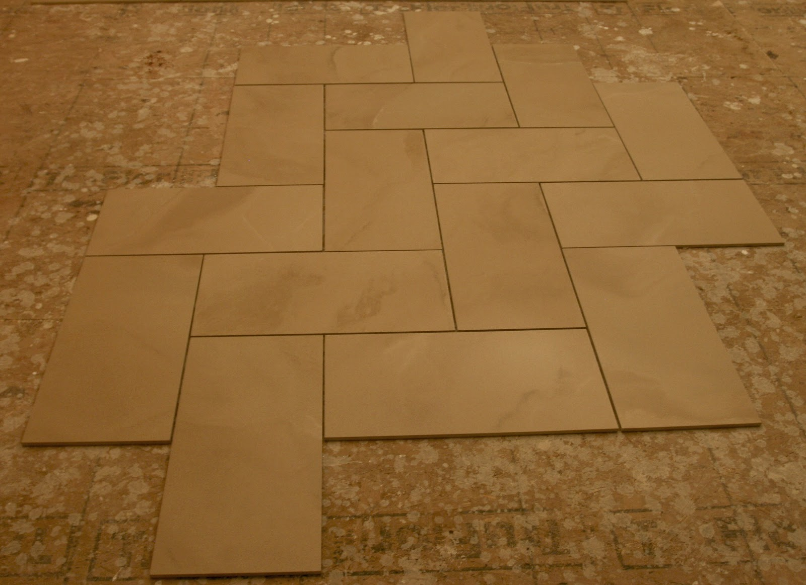Our adventures in nottafarm forest floor pattern options vote 12x24 porcelain tile on the dining room floor to get a feel for how it will lay out he tried out two patterns herringbone and running bond dailygadgetfo Choice Image