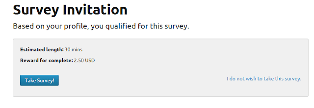 Direct survey invitation from Quest MindShare