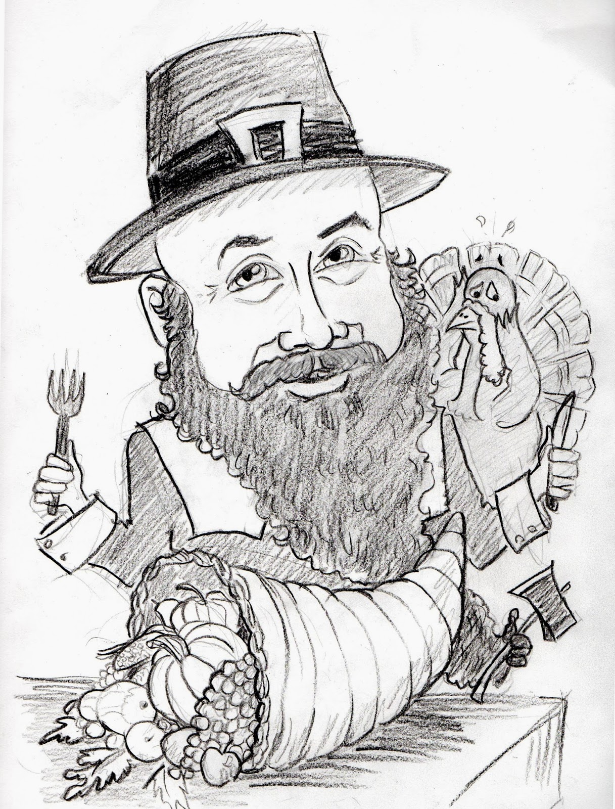 Caricature of Pilgrim, cornucopia, turkey, dinner