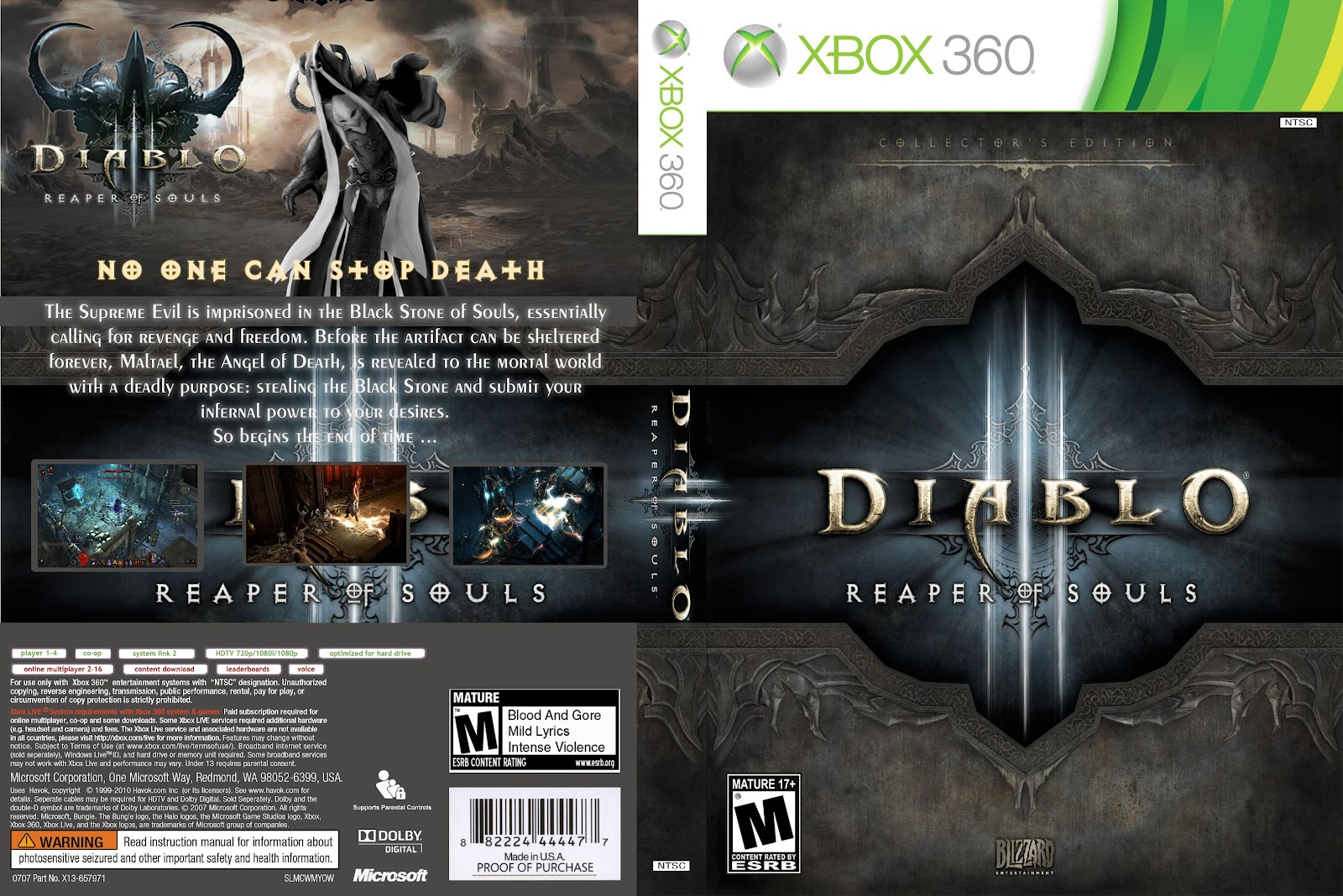 Capa Diablo 3 Reaper Of Souls Collectors Edition Xbox 360