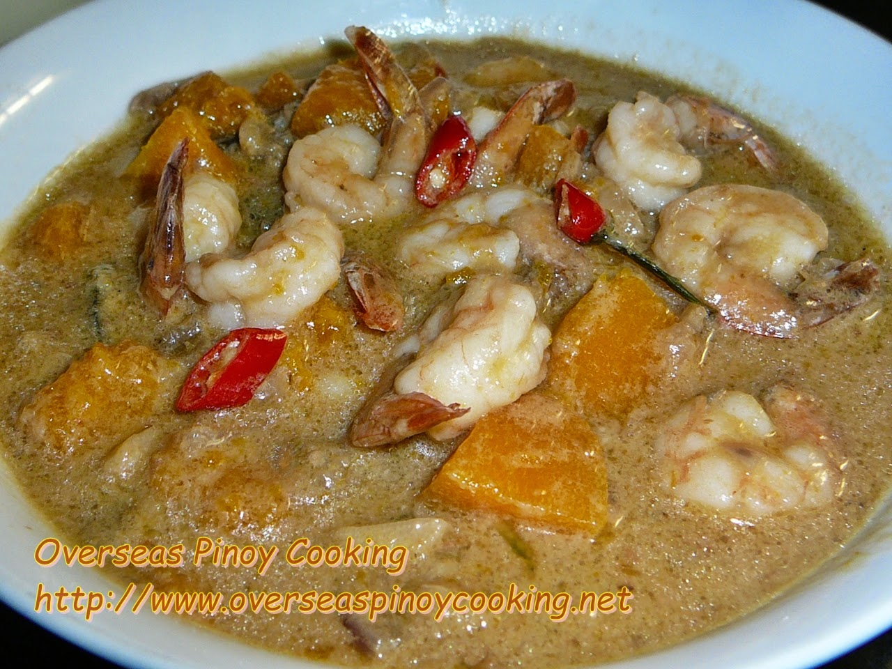 Ginataang Sugpo at Kalabasa, Prawn and Pumpkin in Coconut Milk