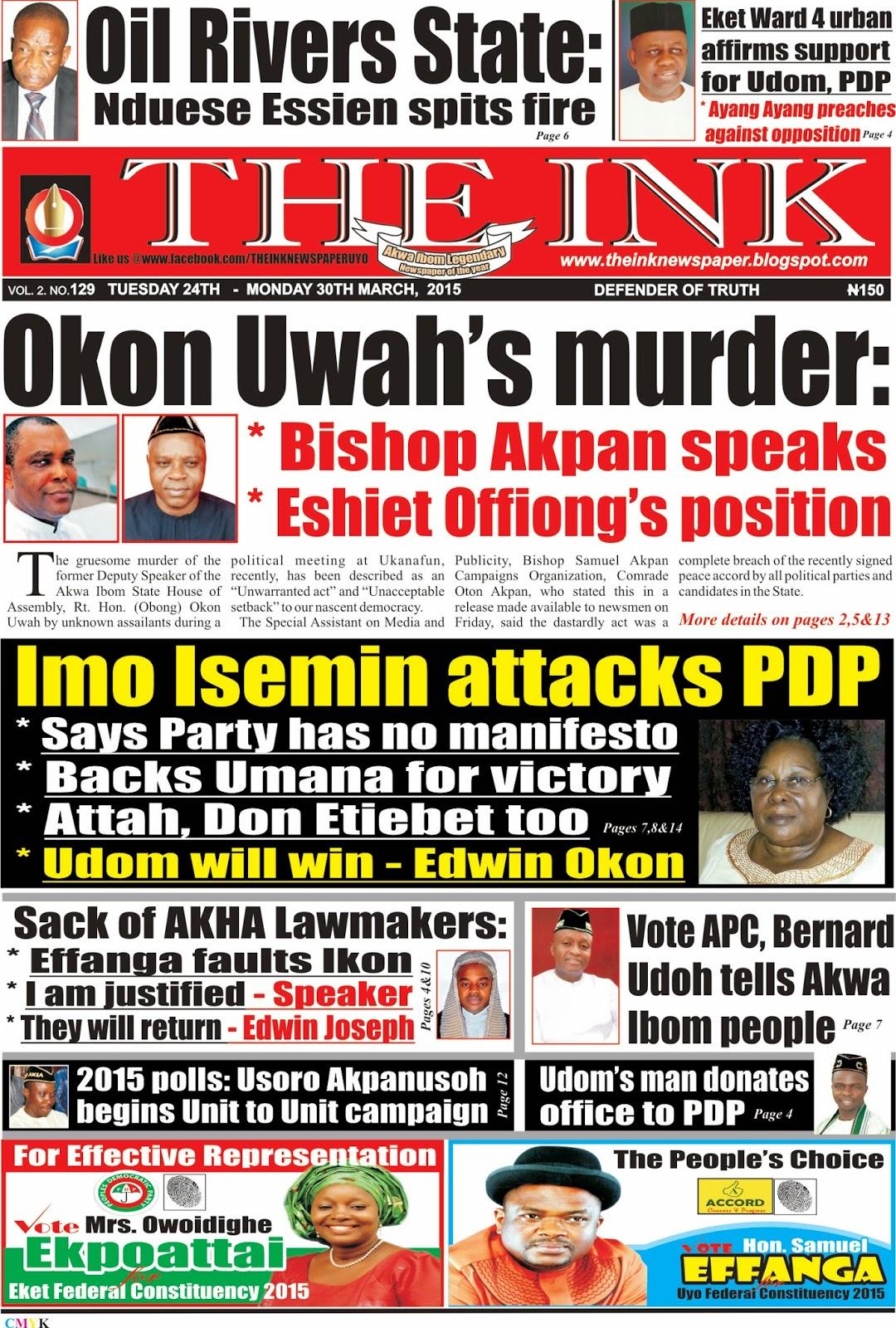 Latest Edition of THE INIK NEWSPAPER, uyo, Akwa Ibom State