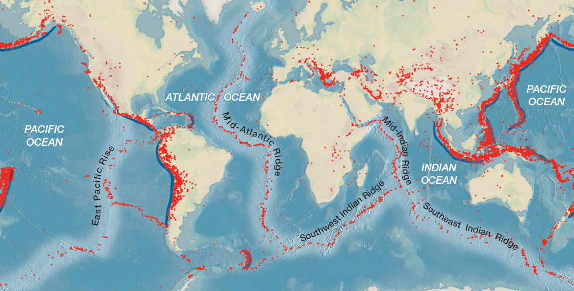 The distributions of epicenters for all earthquakes of at least 5.0 magnitude over a 10-year period