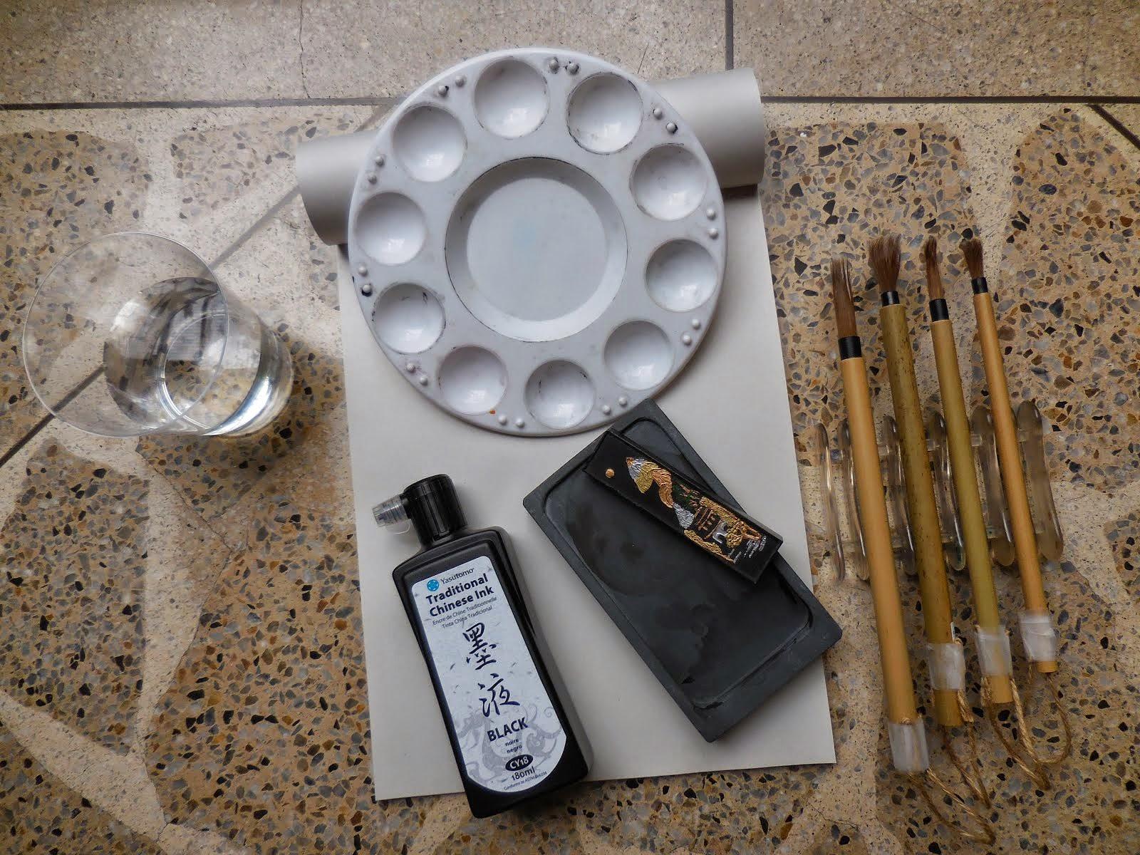 algunas de mis herramientas para la caligrafía china