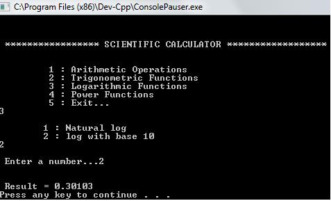 Scientific Calculator in C++