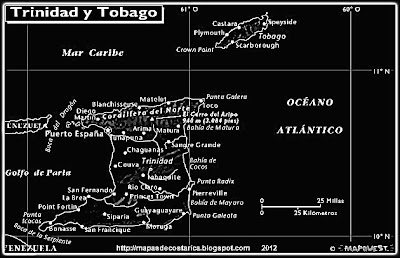 TRINIDAD Y TOBAGO, Mapa de TRINIDAD Y TOBAGO, relieve blanco y negro Atlas