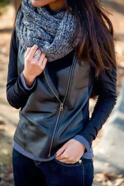 Attractive Black Asymmetrical Leather Jacket with Gray Circle Scarf, Blue Jeans and Accessories, Street Style