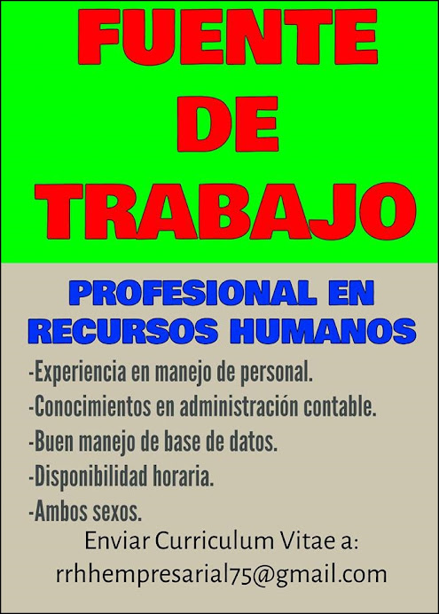 ESPACIO PUBLICITARIO: FUENTE DE TRABAJO