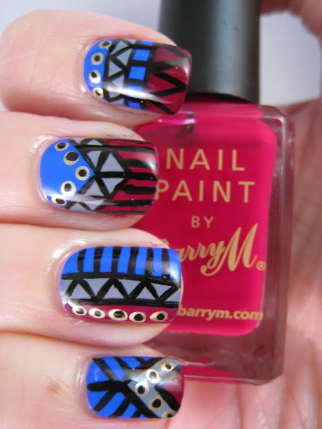 naily perfect blue and grey tribal